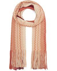 Missoni Ombre Zig-zag Stripe Long Tassel Wool-blend Scarf - Pink