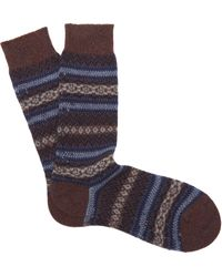Pantherella Fairisle Cashmere-blend Socks - Blue