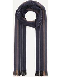 Nick Bronson Striped Wool Scarf - Blue