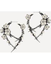 Shaun Leane - Cherry Blossom Pearl And Diamond Flower Hoop Earrings - Lyst