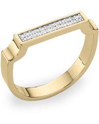 Monica Vinader Gold Plated Vermeil Silver Signature Diamond Ring - Metallic