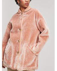 Paul Smith Faux Fur Reversible Coat - Pink