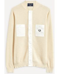 Fred Perry Woven Pocket Textured Cardigan - Natural