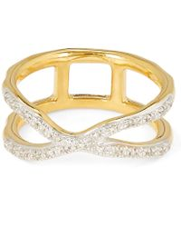 Monica Vinader Gold Vermeil Riva Wave Cross Ring