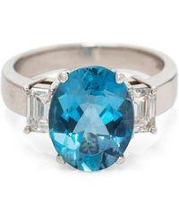 Kojis Platinum Aquamarine And Diamond Ring - Multicolor