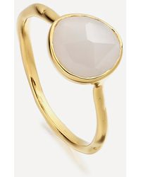Monica Vinader Gold Plated Vermeil Silver Siren Moonstone Stacking Ring - Metallic