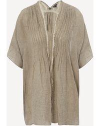 Pas De Calais V-neck Striped Linen Blouse - Natural