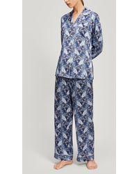Liberty Valentine Silk Charmeuse Pyjama Set - Blue