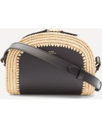 A.P.C. Raffia And Leather Mini Demi-lune Bag - Black