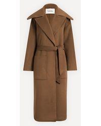 Nanushka Soa Double Wool Trench Coat - Brown
