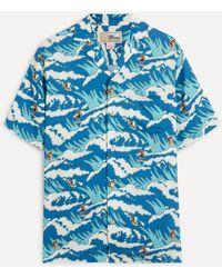 Reyn Spooner Miyazaki Waves Camp-collar Shirt - Blue