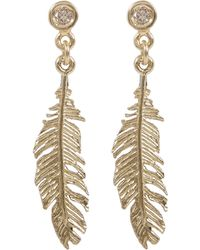 Alex Monroe | Gold Plume And Champagne Diamond Drop Earrings | Lyst