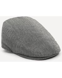 Christys' Driver Tailored Linen Flat Cap - Black