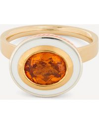 Alice Cicolini 14ct Gold Silver Tile Oval Hessonite Garnet Ring - Metallic