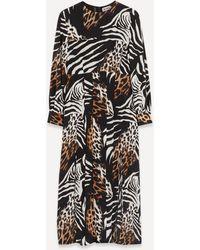 RIXO London - Emma Animal-print Midi-dress - Lyst