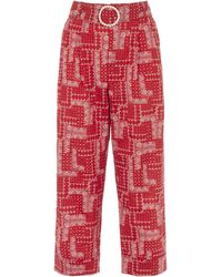 Shrimps Houston Patchwork Print Cropped Cotton Pants - Red