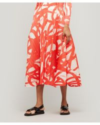 Pleats Please Issey Miyake Spin Printed Flared Midi-skirt