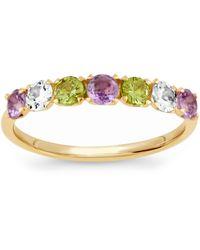 Dinny Hall - Gold Plated Vermeil Silver Suffragette Primrose Gemstone Half Eternity Ring - Lyst