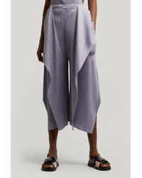 Pleats Please Issey Miyake Drape Pleats Trousers - Gray