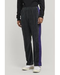 Needles Embroidered Logo Velour Track Pants - Gray