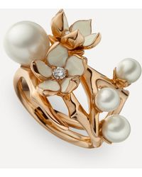 Shaun Leane Rose Gold Plated Vermeil Silver Cherry Blossom Pearl And Diamond Flower Ring - Metallic