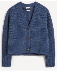 Ganni Rib Knit Slouchy Cardigan - Blue