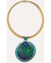 Kojis Gold Black Opal Pendant Necklace - Metallic