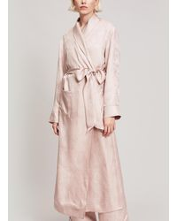 Liberty Hera Silk Jacquard Long Robe - Pink