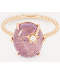 Andrea Fohrman Gold Mini Galaxy Rutilated Quartz And Diamond Star Ring - Multicolor