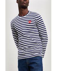 COMME DES GARÇONS PLAY Striped Cotton Long Sleeve T-shirt - Blue