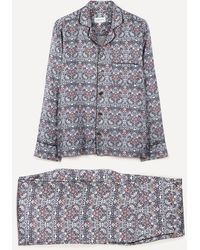 Liberty Strawberry Thief Silk Satin Pyjama Set - Blue