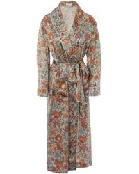Liberty Tree Of Life Silk Charmeuse Robe - Multicolor