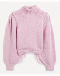 Hayley Menzies Lacey Sleeve Alpaca-mix Sweater - Pink