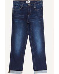 PAIGE Brigitte Crop Mid Rise Skinny Boyfriend Jeans - Blue