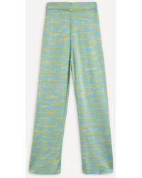 Paloma Wool Paige Knit Jacquard Trousers - Green