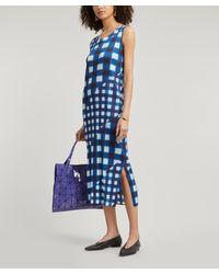 Pleats Please Issey Miyake Check Sleeveless Pleated Dress - Blue