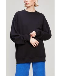 Acne Studios Forba Face Patch Long Cotton Sweatshirt - Black
