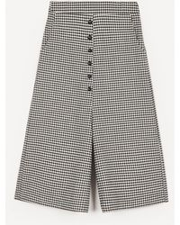 Crea Concept Cropped Wide-leg Checked Trousers - Black