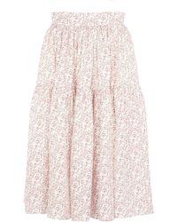 Shrimps Ray Cat Print Midi-skirt - Pink