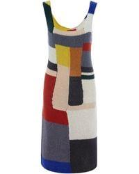 Eckhaus Latta Neutrals Colour Block Wool Knit Dress - Multicolour