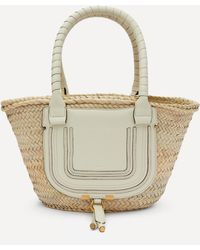 Chloé Marcie Medium Raffia And Leather Basket Bag - White