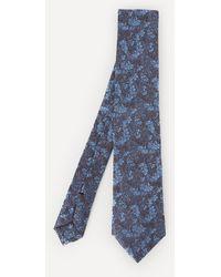 Liberty Cranston Print Silk Tie - Blue
