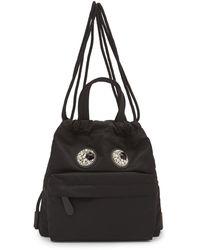 Anya Hindmarch Mini Crystal Eyes Drawstring Backpack - Black