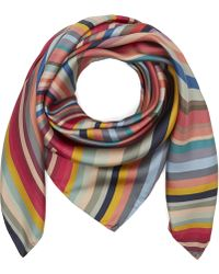 Paul Smith Swirl Stripe Silk Scarf - Multicolour