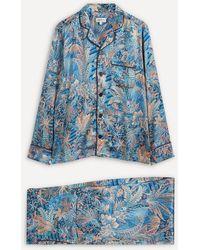 Liberty Adelphi Voyage Silk Satin Pyjama Set - Blue
