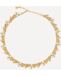 Susan Caplan Gold-plated 1960s Trifari Crystal And Faux Pearl Collar Necklace - Metallic