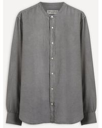 Officine Generale Grandad Collar Pigment-dyed Shirt - Grey