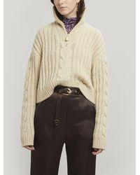 Nanushka Eria Cable-knit Half-zip Sweater - Natural