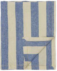 Frescobol Carioca Thick Stripe Linen Towel - Blue
