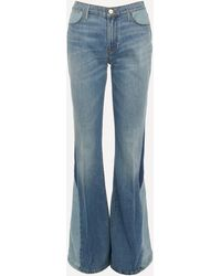 FRAME Le High Flare Diagonal Block Jeans - Blue
